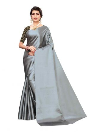 Angel Trends Grey Satin Casual Solid Saree with unsticthed bloue
