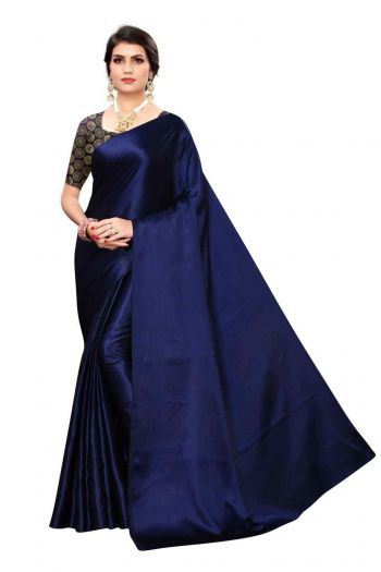 Angel Trends Navy Blue Satin Casual Solid Saree with unsticthed bloue