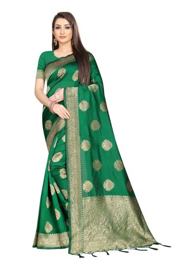 RedRound Green Banarasi silk Festival Floral Saree with unsticthed bloue