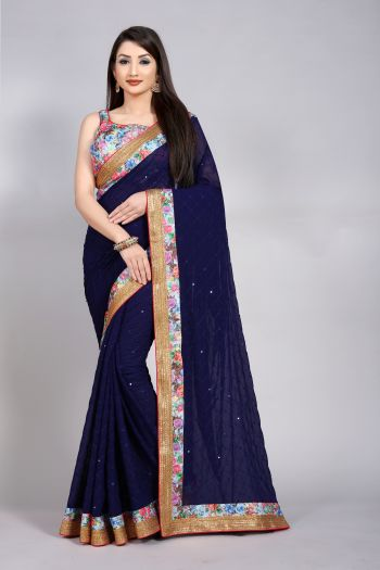RedRound Navy Blue Georgette Party Checks Saree with unsticthed bloue