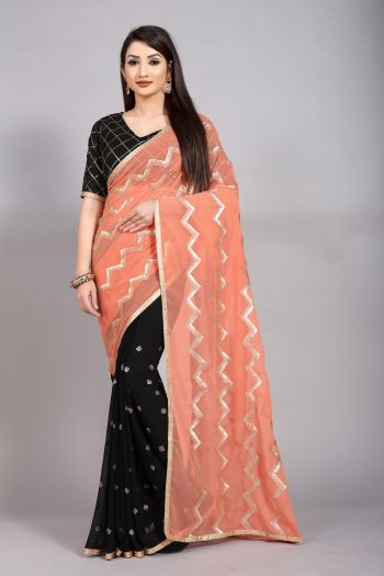 RedRound Peach Georgette Party Geometric Saree with unsticthed bloue
